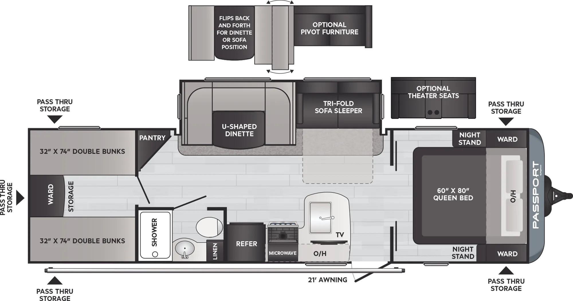 View Floor Plan for 2022 KEYSTONE PASSPORT 282QBWE