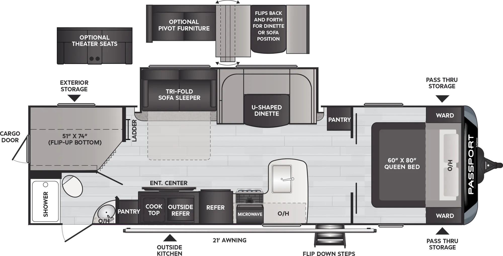 View Floor Plan for 2022 KEYSTONE PASSPORT 2951BH