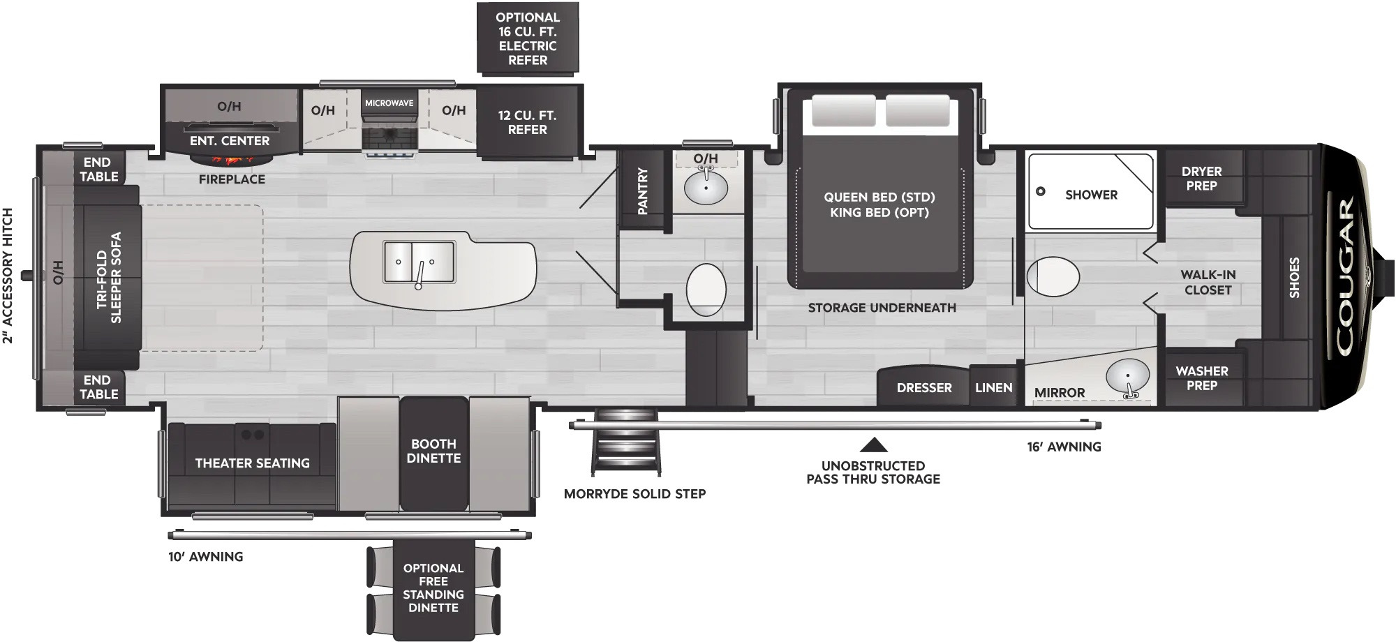 View Floor Plan for 2022 KEYSTONE COUGAR 355FBS
