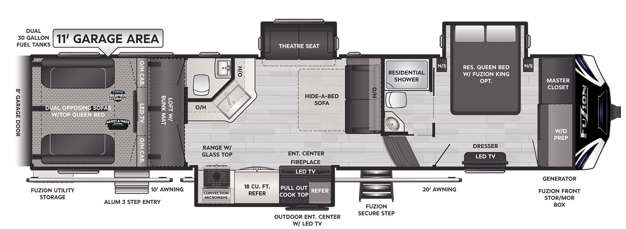 View Floor Plan for 2022 KEYSTONE FUZION 379