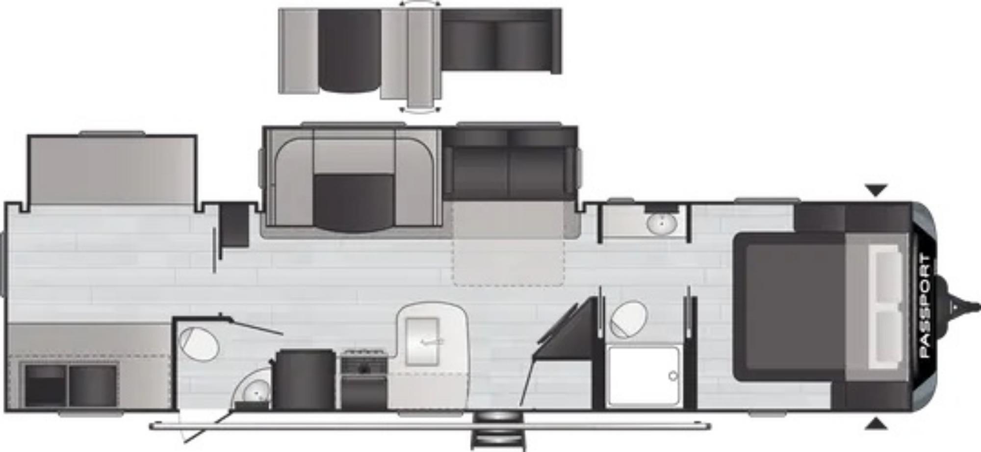 View Floor Plan for 2022 KEYSTONE PASSPORT 3352BH