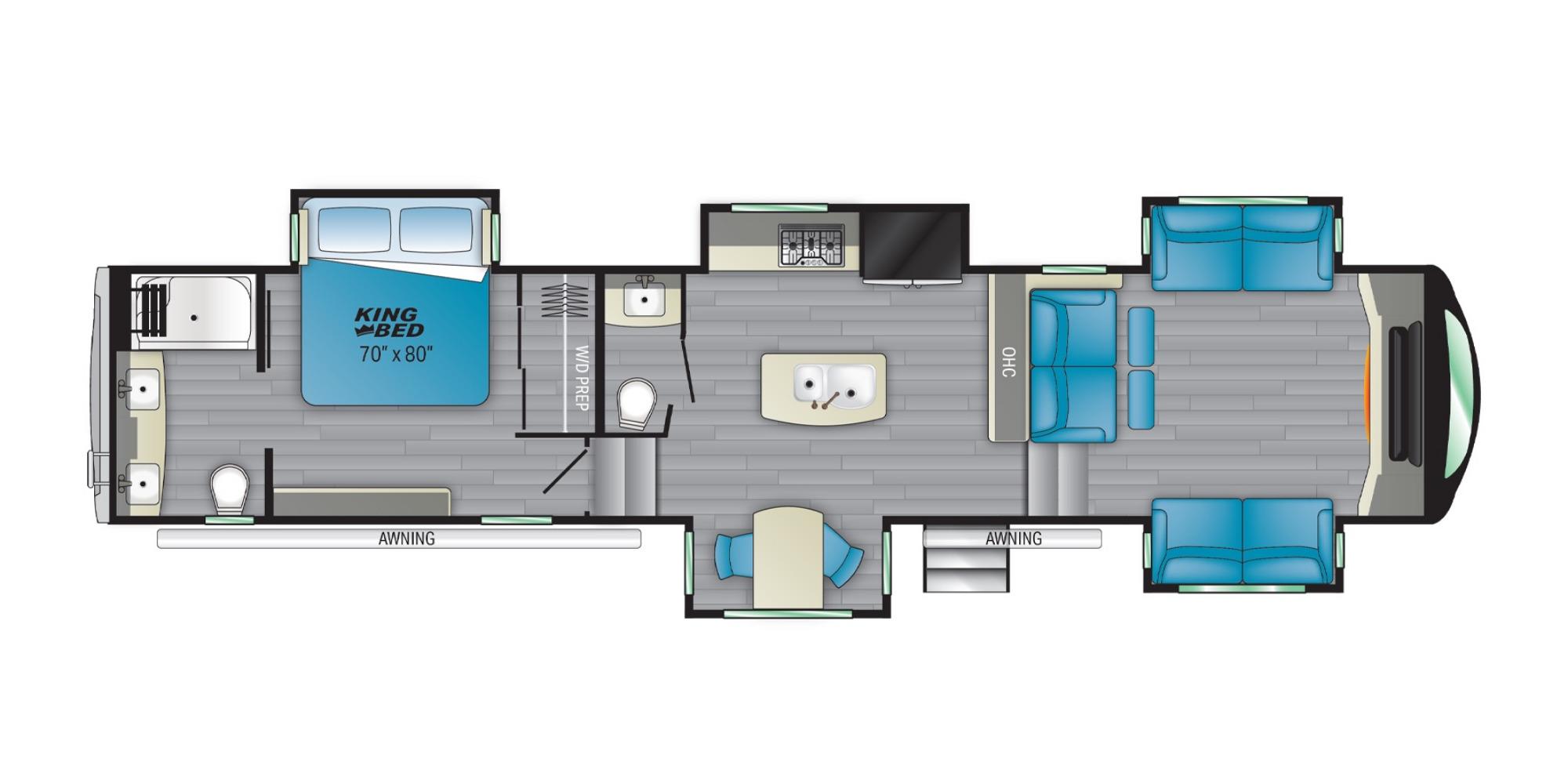 View Floor Plan for 2022 HEARTLAND BIGHORN 3950FL