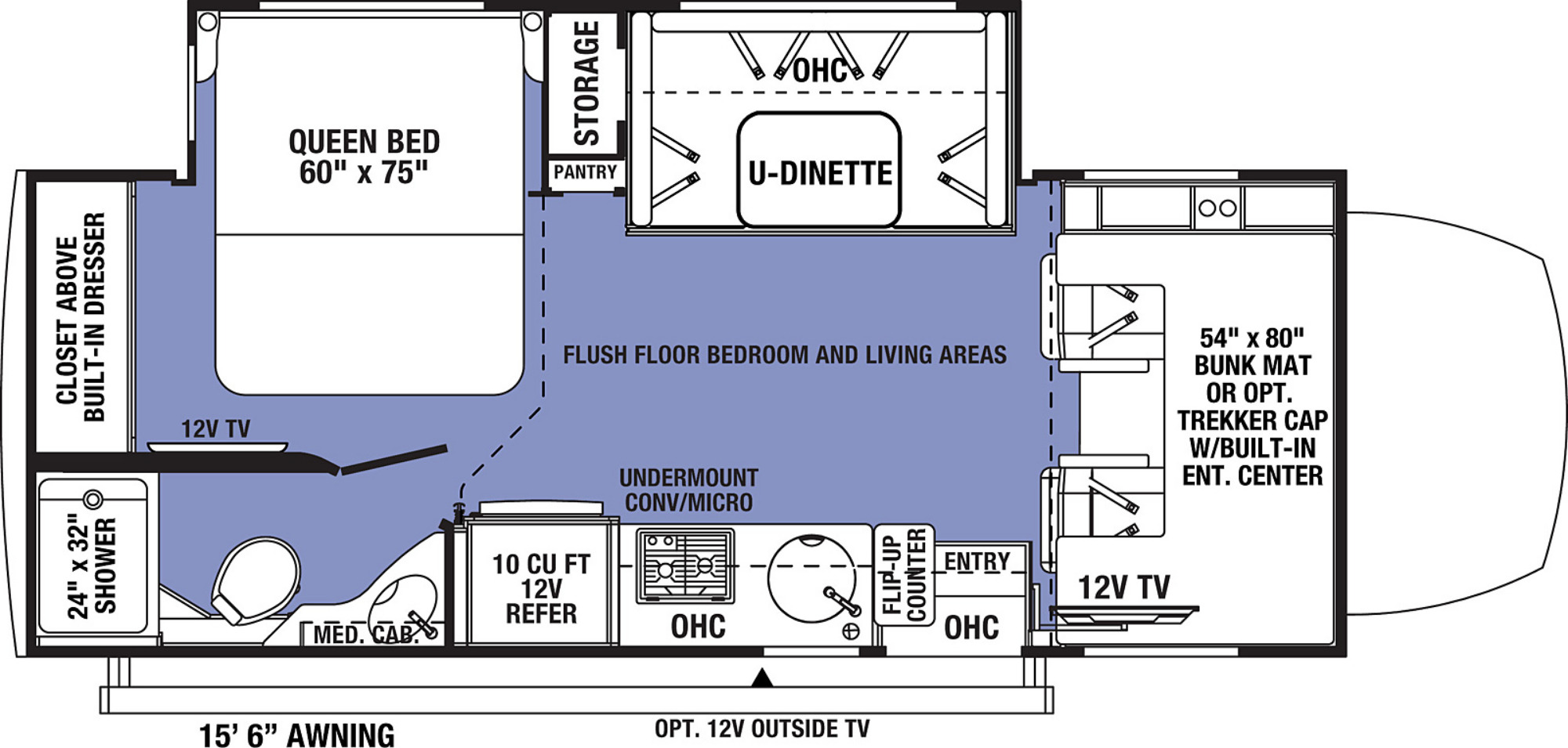 View Floor Plan for 2022 FOREST RIVER SUNSEEKER MBS 2400B
