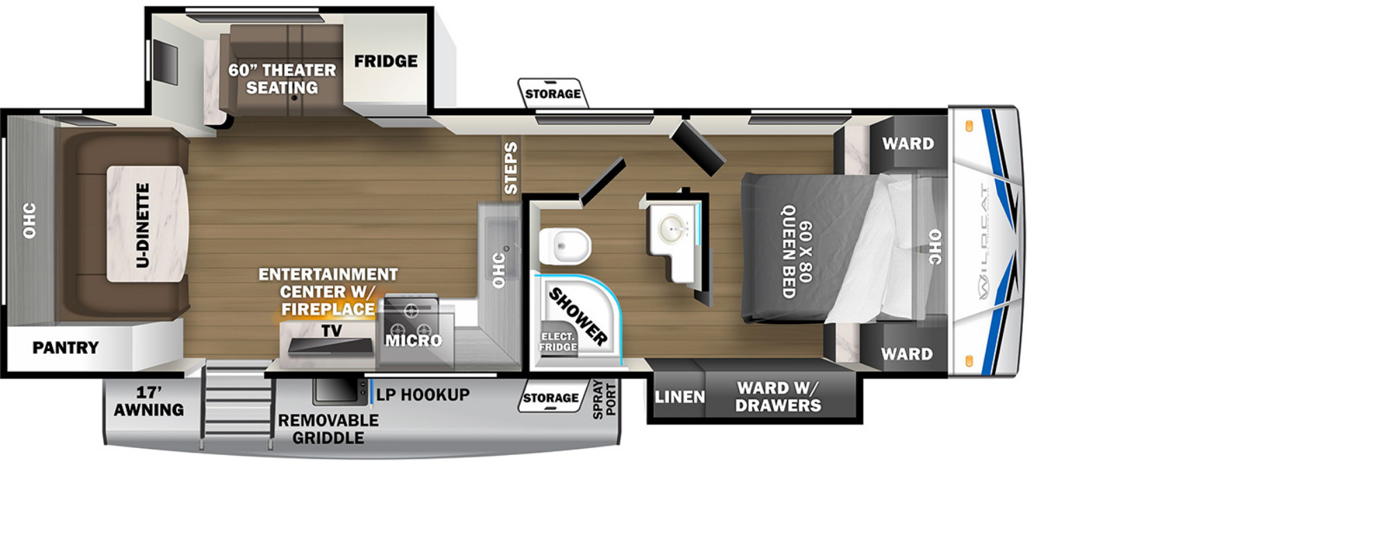 View Floor Plan for 2022 FOREST RIVER WILDCAT 260RD