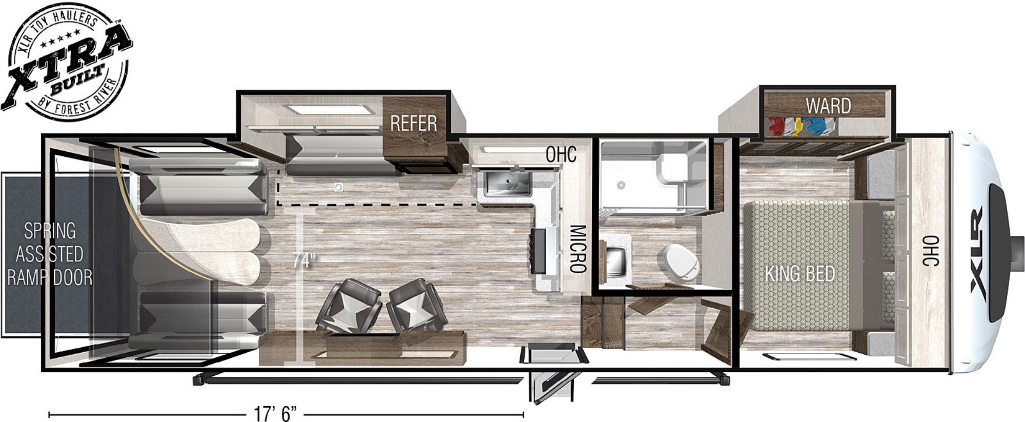 View Floor Plan for 2022 FOREST RIVER XLR NITRO 28DK5