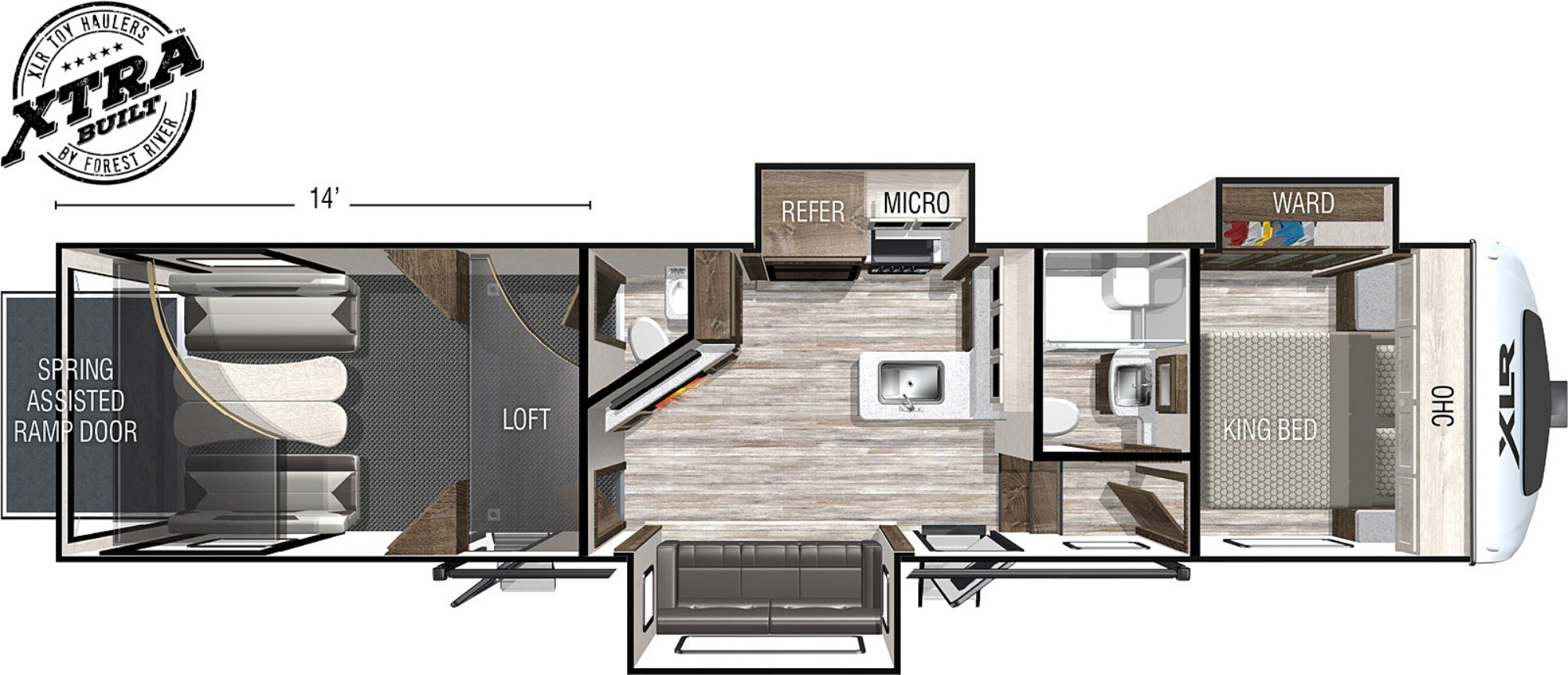 View Floor Plan for 2022 FOREST RIVER XLR NITRO 351