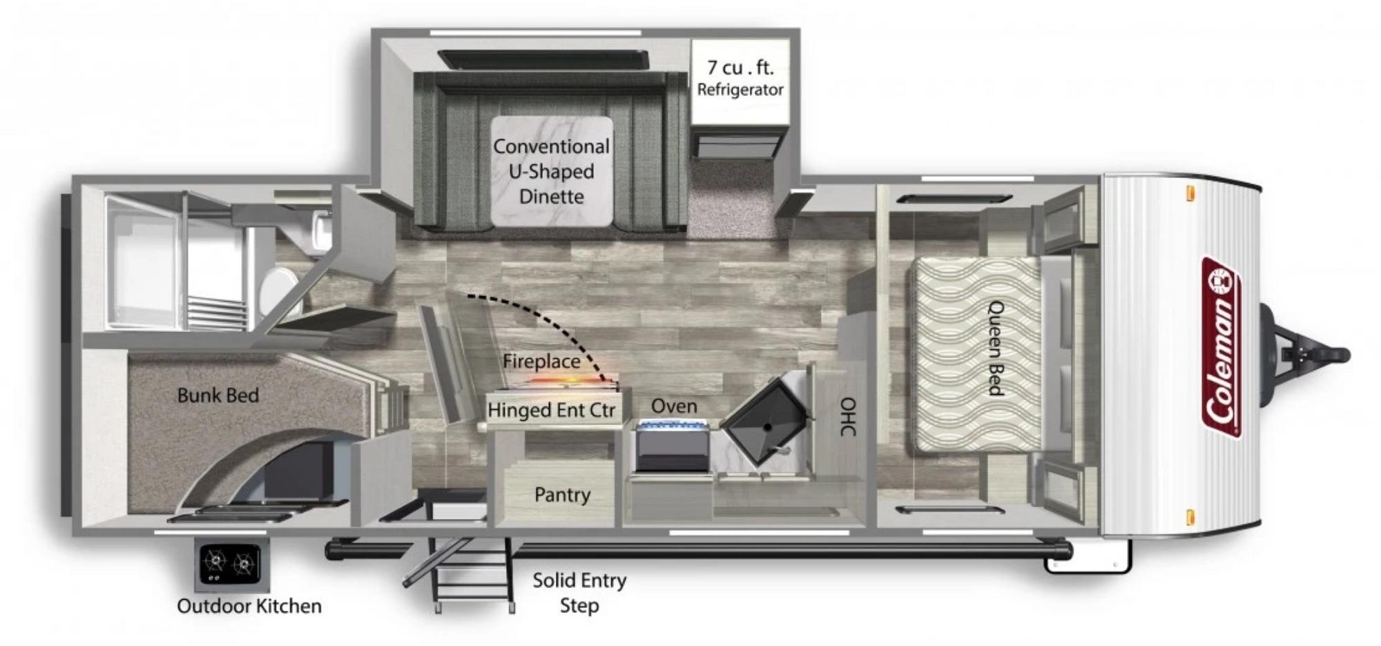View Floor Plan for 2022 COLEMAN COLEMAN LANTERN 242BHWE