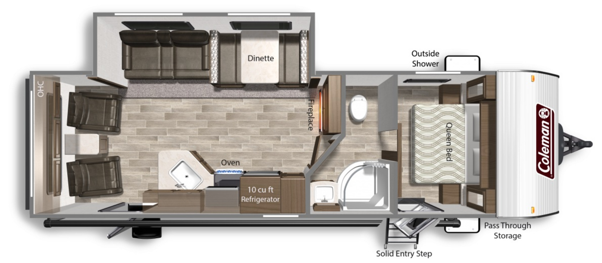 View Floor Plan for 2022 COLEMAN COLEMAN LANTERN 264RL