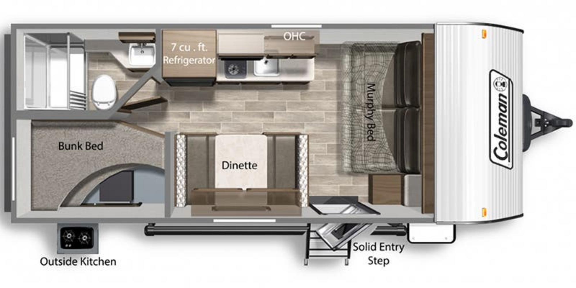 View Floor Plan for 2022 COLEMAN COLEMAN LANTERN LT 18BH