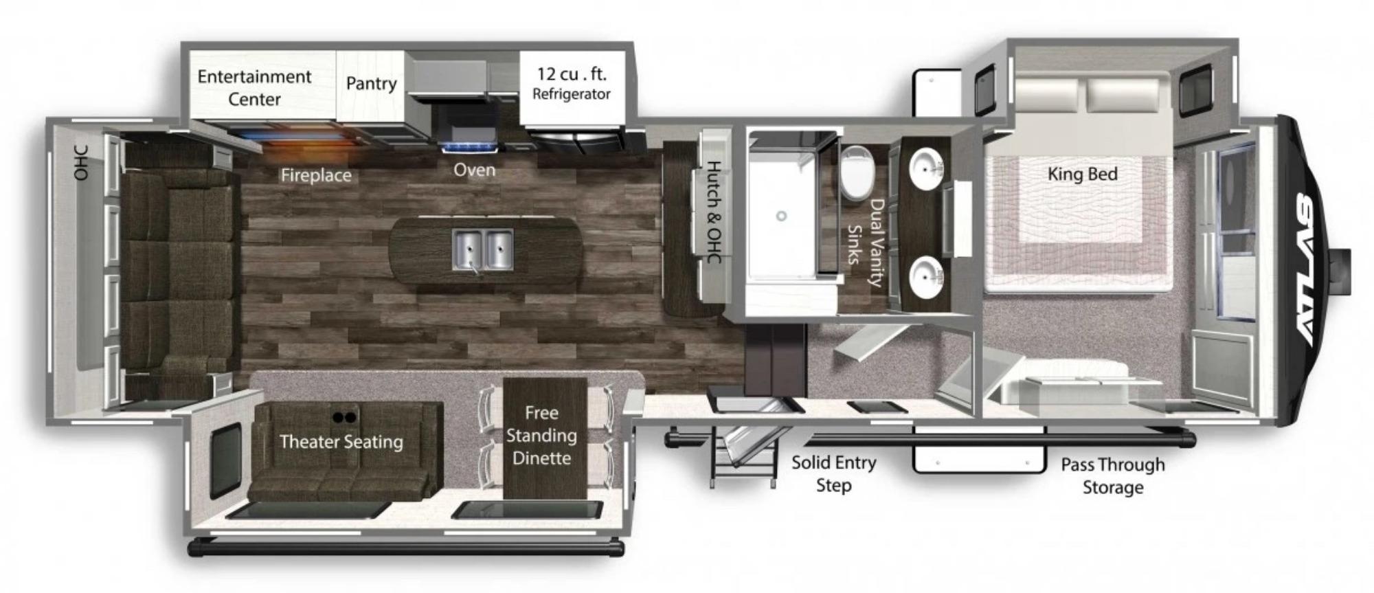 View Floor Plan for 2022 DUTCHMEN ATLAS 3172RLKB