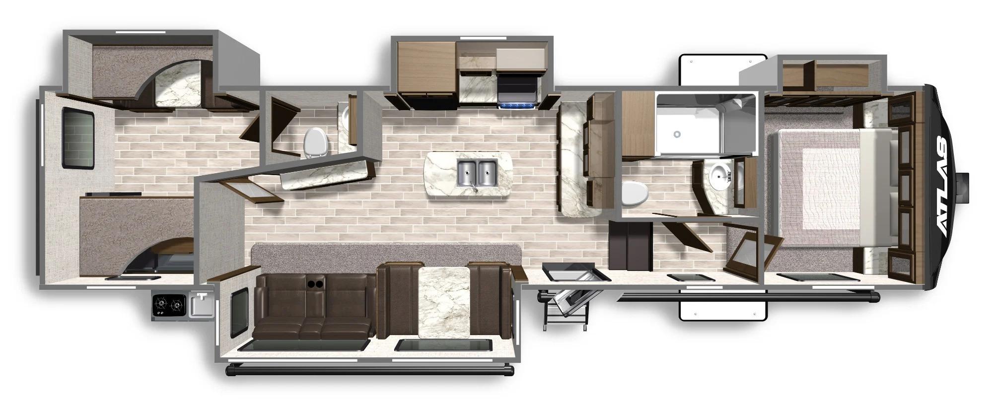 View Floor Plan for 2022 DUTCHMEN ATLAS 3342BHF
