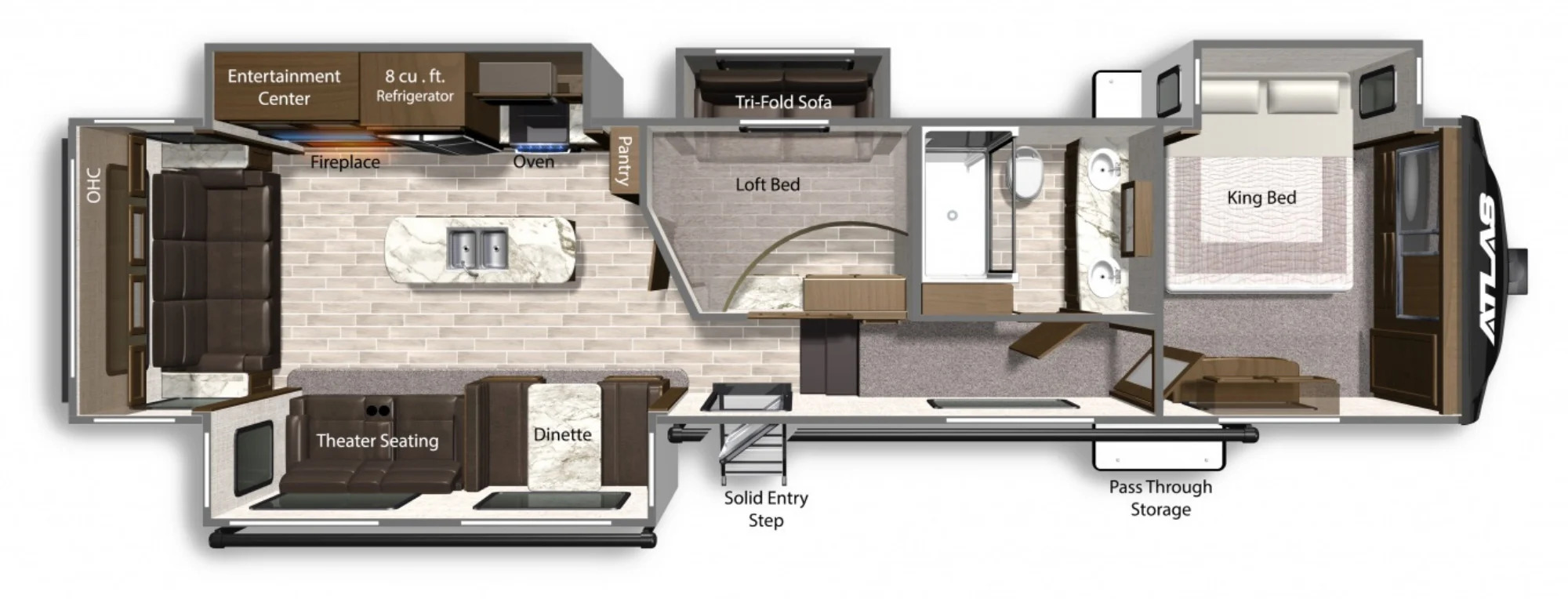 View Floor Plan for 2022 DUTCHMEN ATLAS 3552MBKB