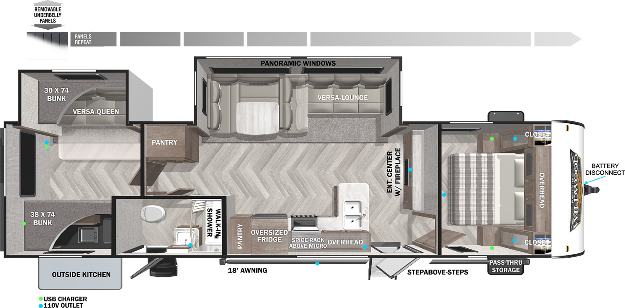 View Floor Plan for 2022 FOREST RIVER WILDWOOD 32BHDS