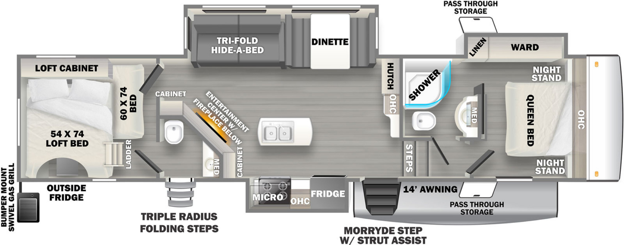 View Floor Plan for 2021 FOREST RIVER SANDPIPER 3440BH