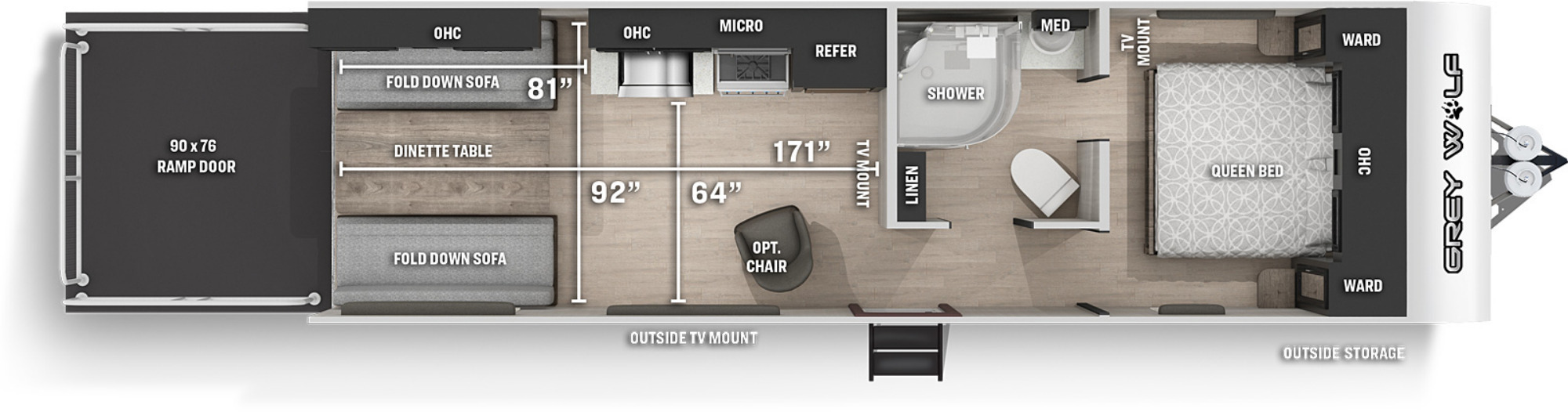 View Floor Plan for 2022 FOREST RIVER GREY WOLF 25RRT