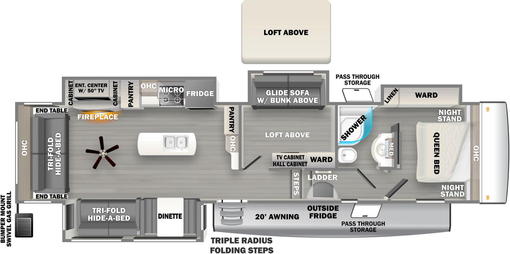View Floor Plan for 2022 FOREST RIVER SANDPIPER 3660MB