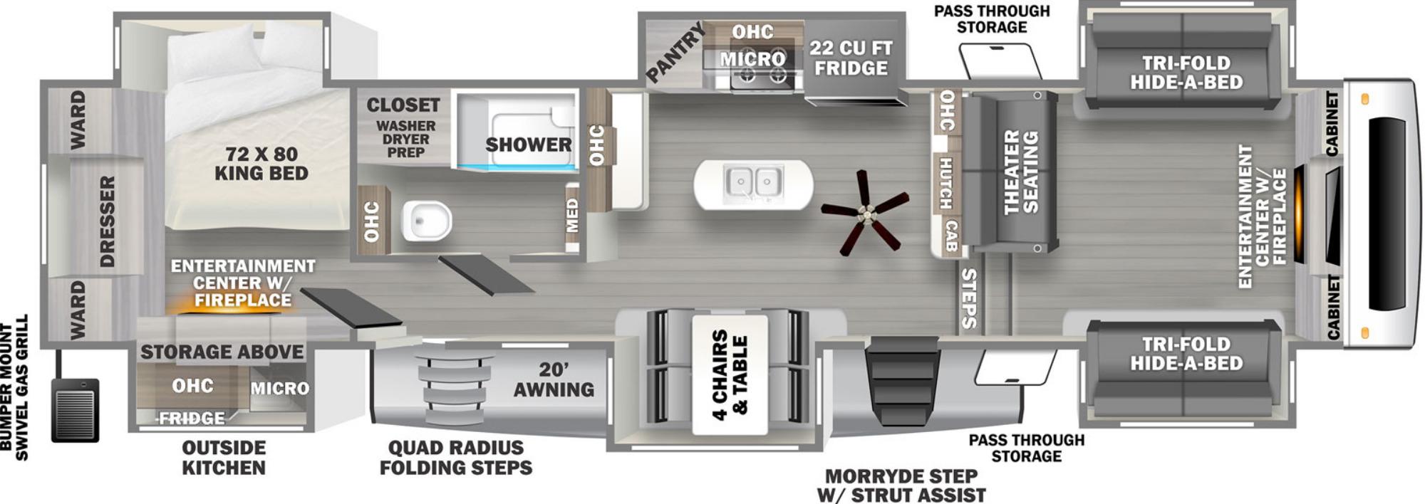 View Floor Plan for 2022 FOREST RIVER SANDPIPER LUXURY 379FLOK
