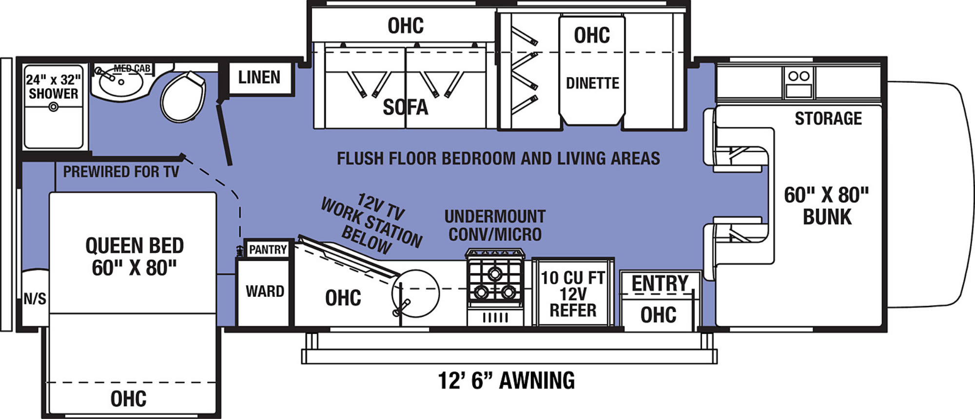 View Floor Plan for 2022 FOREST RIVER SUNSEEKER LE 2550DSC