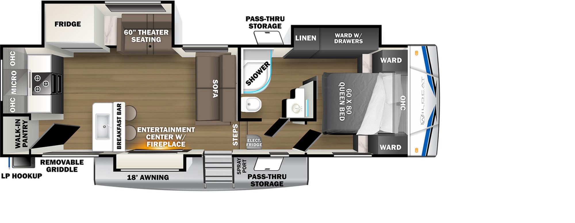 View Floor Plan for 2022 FOREST RIVER WILDCAT 271ML