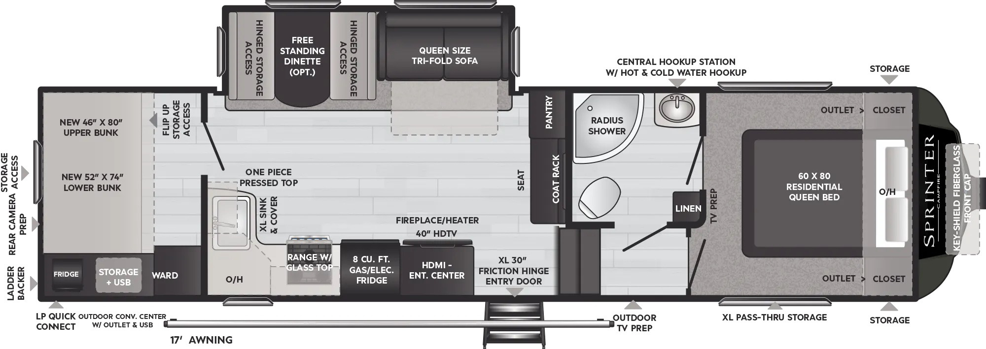 View Floor Plan for 2022 KEYSTONE SPRINTER F29BH