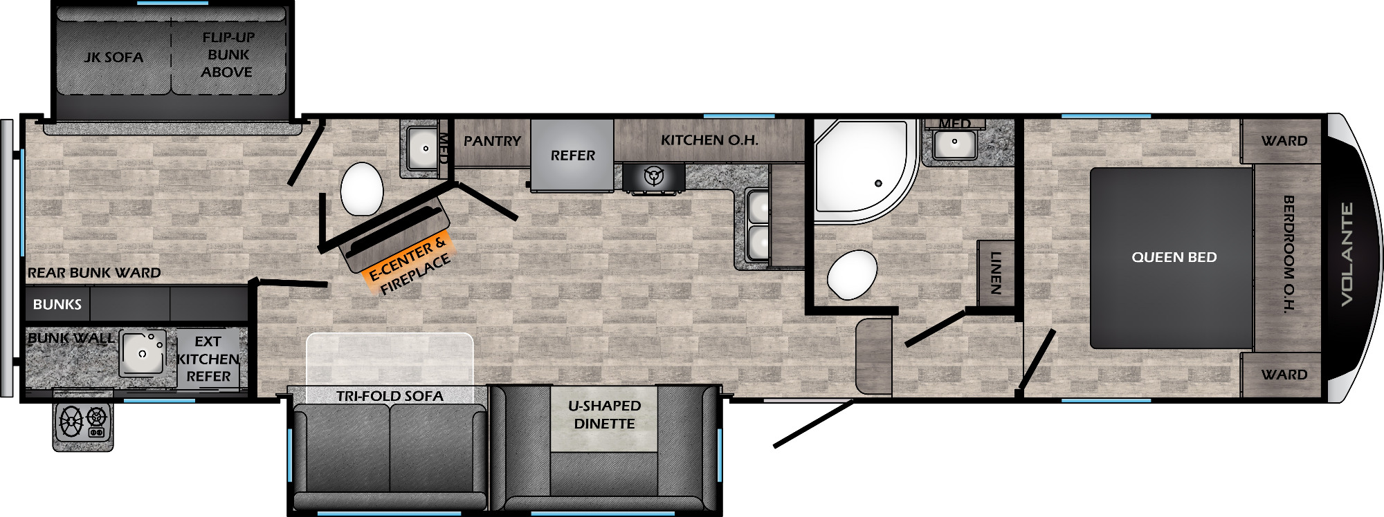 View Floor Plan for 2022 CROSSROADS VOLANTE 329DB