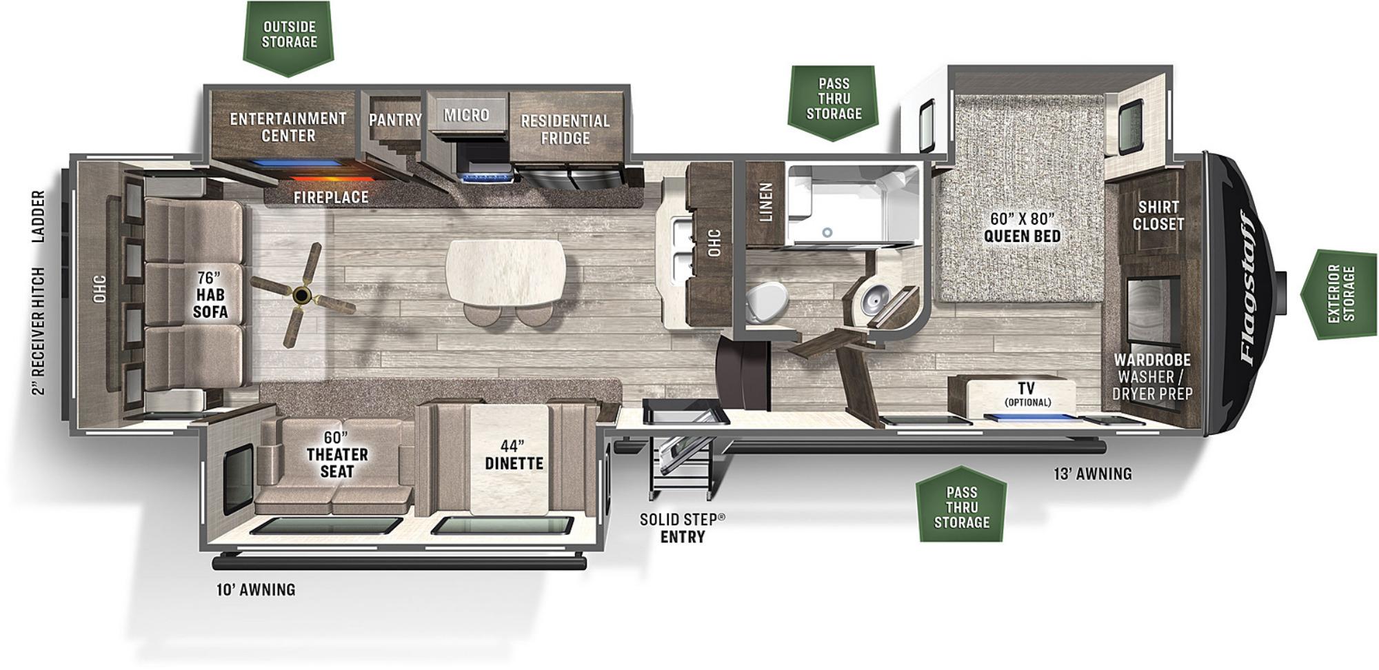 View Floor Plan for 2022 FOREST RIVER FLAGSTAFF SUPER LITE 529IKRL