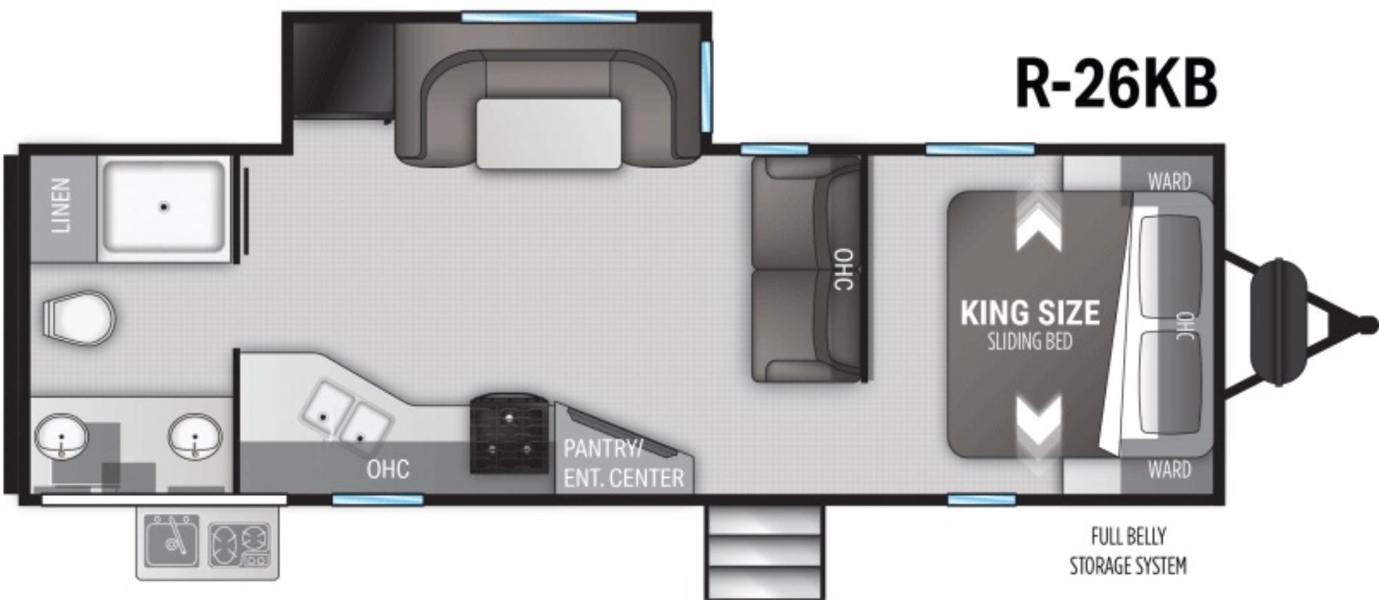 View Floor Plan for 2022 CRUISER RV RADIANCE 26KB