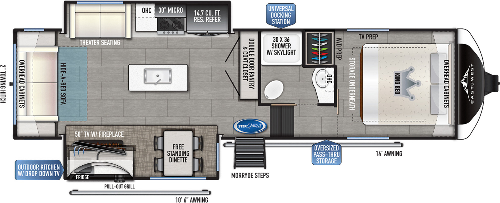 View Floor Plan for 2022 EAST TO WEST TANDARA 286RL-OK