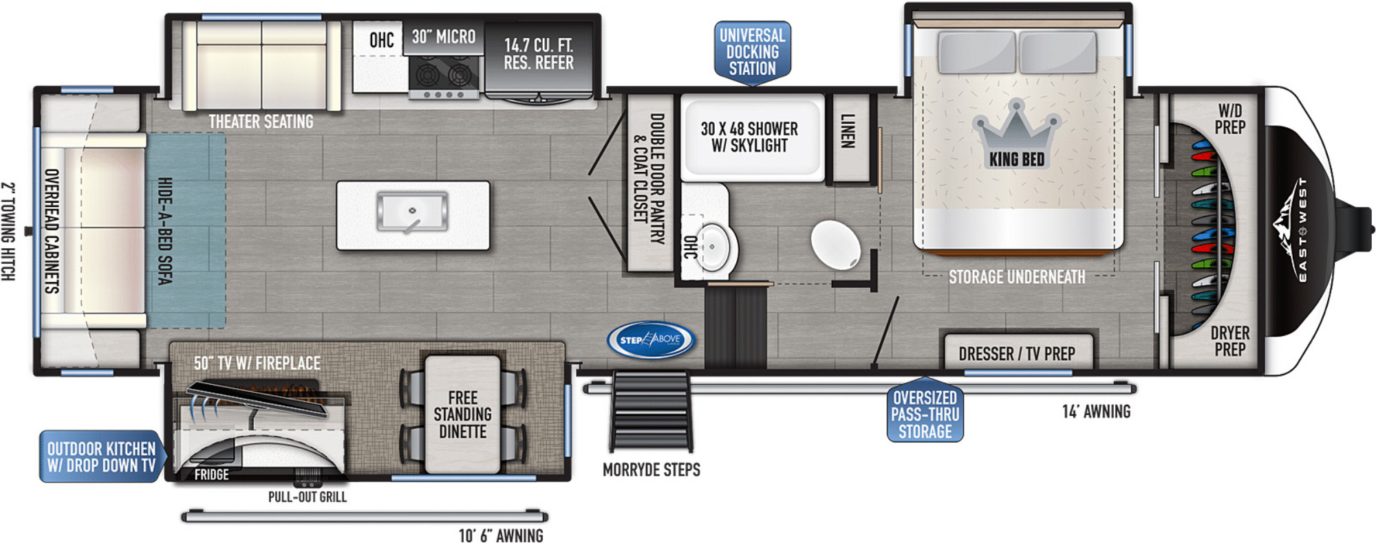 View Floor Plan for 2022 EAST TO WEST TANDARA 321RL-OK