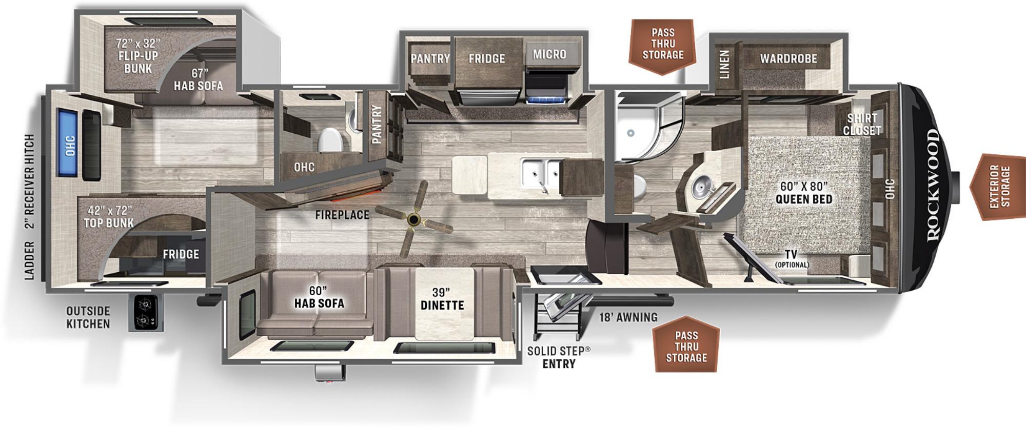 View Floor Plan for 2022 FOREST RIVER ROCKWOOD ULTRA LITE 2892RB