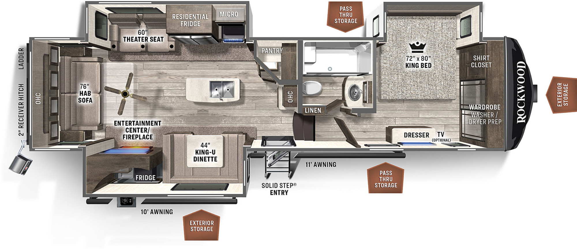 View Floor Plan for 2022 FOREST RIVER ROCKWOOD SIGNATURE ULTRA LITE 8288SB