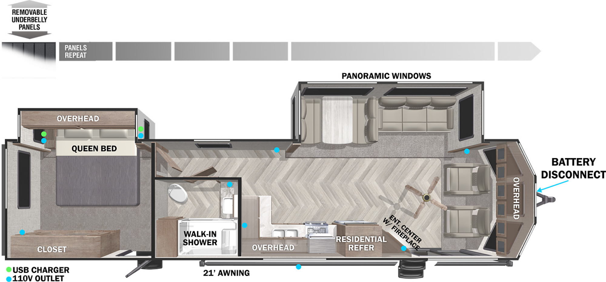 View Floor Plan for 2022 FOREST RIVER WILDWOOD DLX 353FLFB