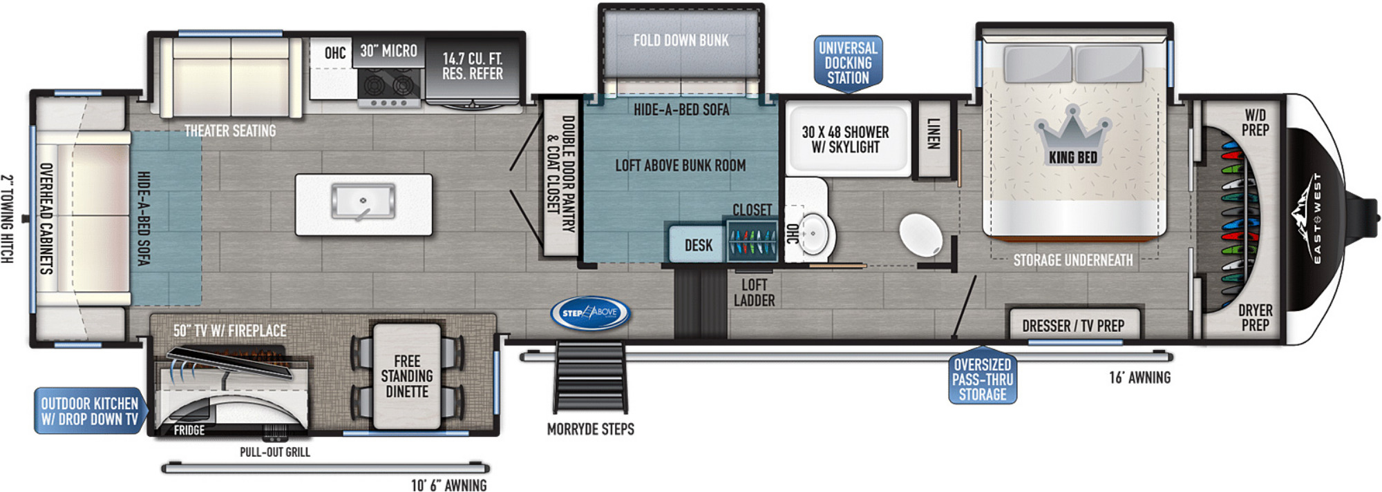 View Floor Plan for 2022 EAST TO WEST TANDARA 386MB-OK