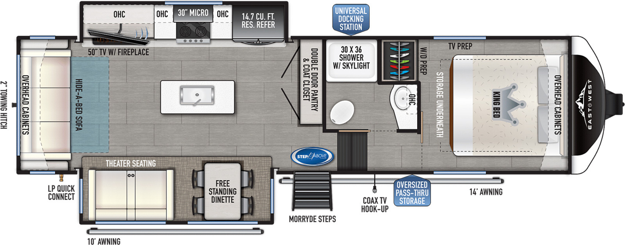 View Floor Plan for 2022 EAST TO WEST TANDARA 285RL