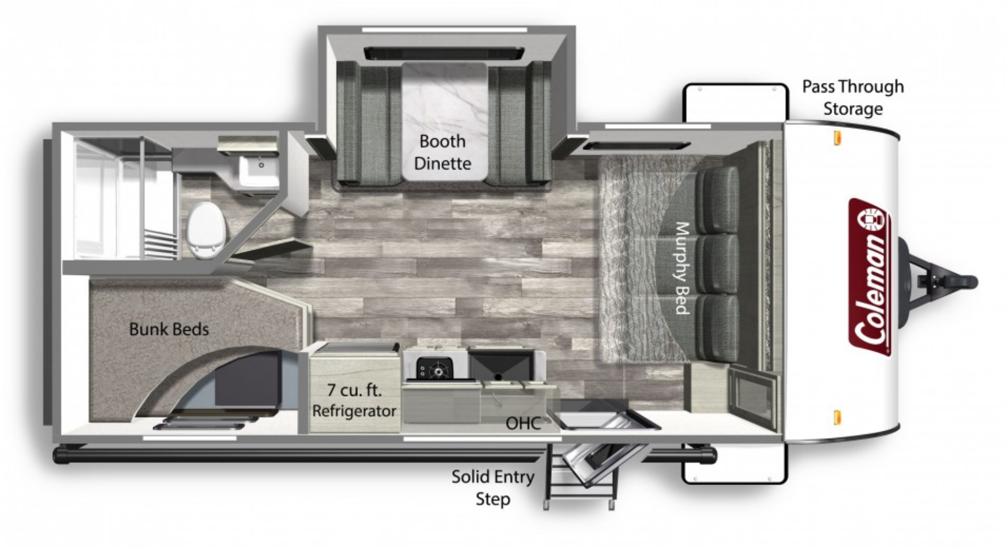 View Floor Plan for 2022 COLEMAN COLEMAN LIGHT 1905BH