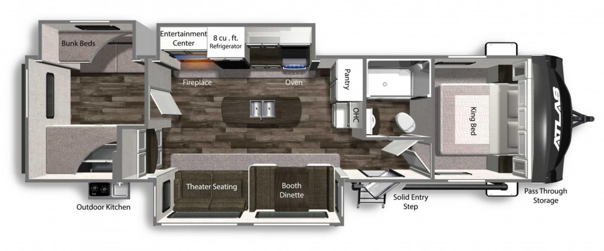 View Floor Plan for 2022 DUTCHMEN ATLAS 3382BH