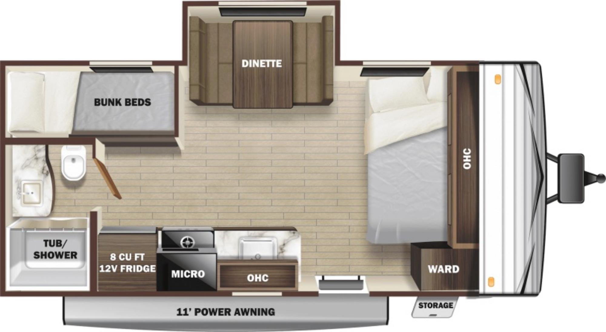 View Floor Plan for 2022 HIGHLAND RIDGE OPEN RANGE 180BHSWE