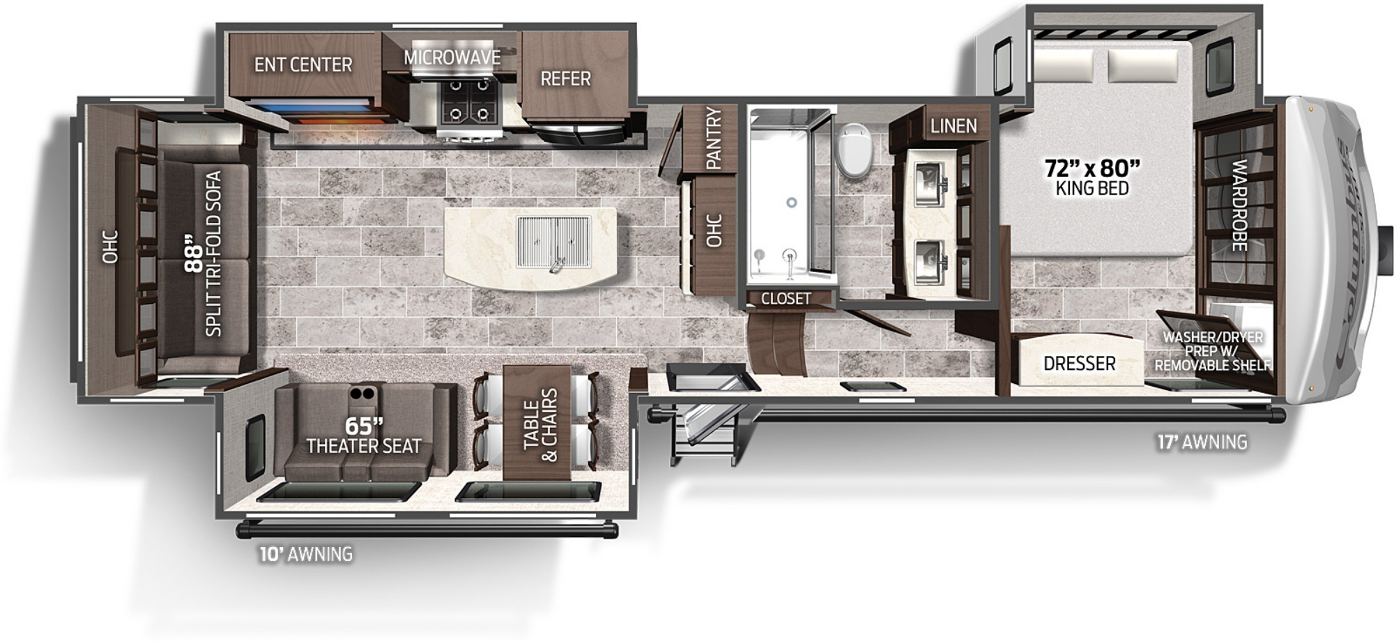 View Floor Plan for 2022 FOREST RIVER COLUMBUS C-SERIES 329DVC