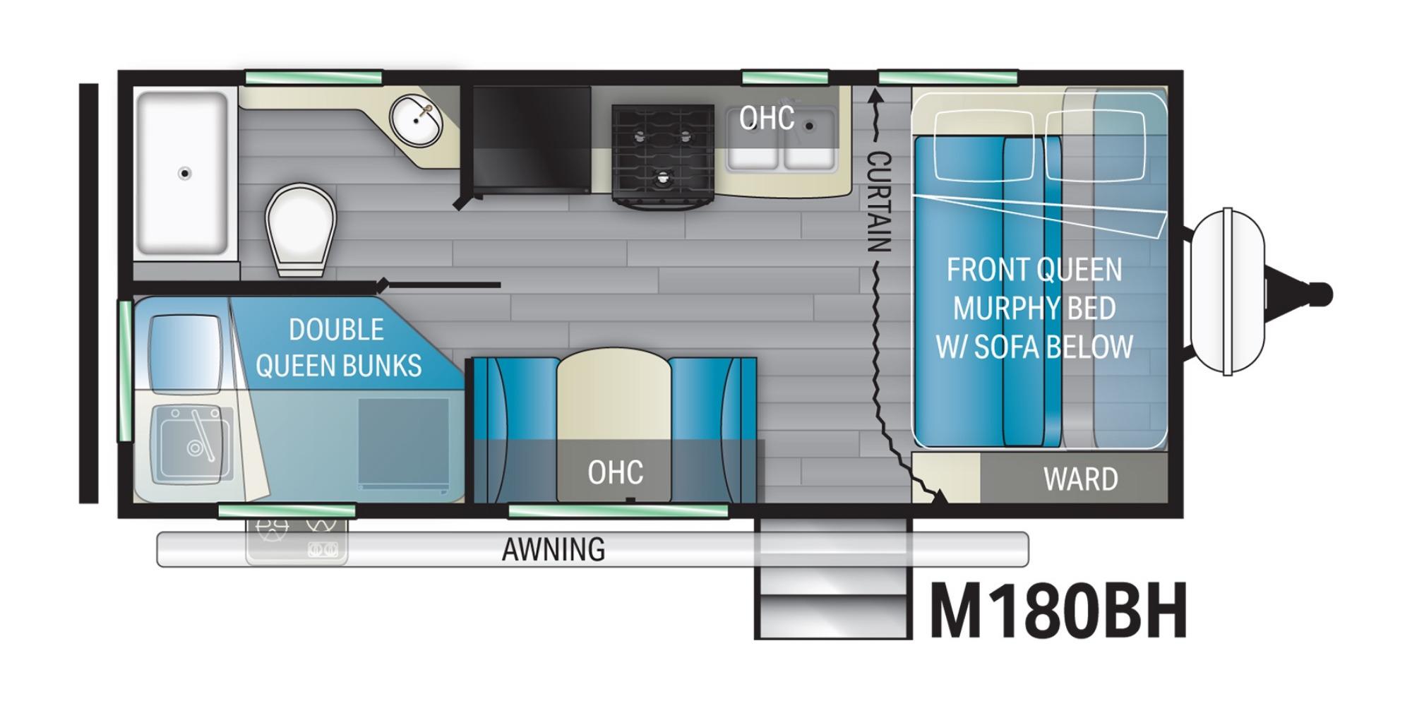 View Floor Plan for 2022 HEARTLAND MALLARD TAILWIND T180BH
