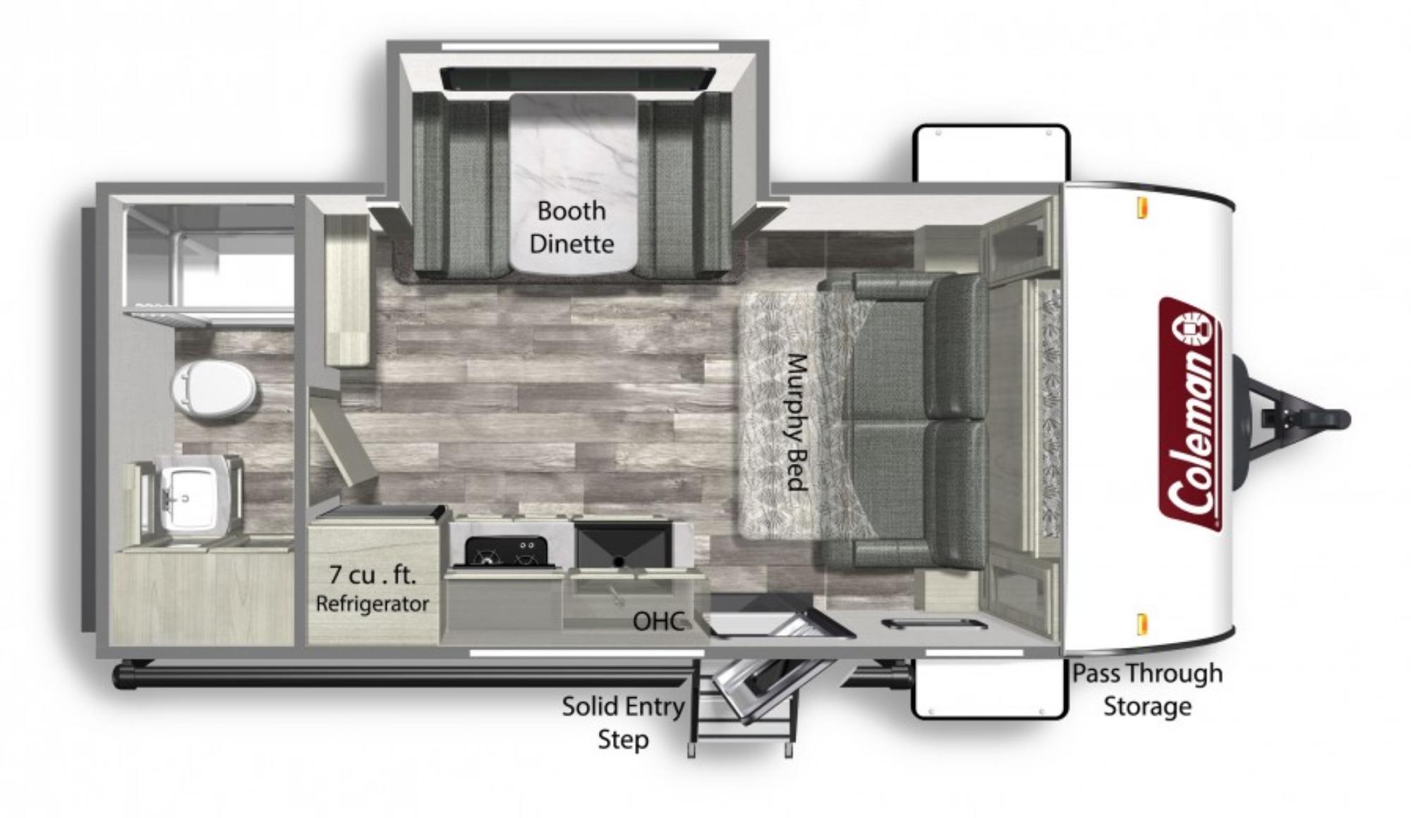 View Floor Plan for 2022 COLEMAN COLEMAN LIGHT 1855RB
